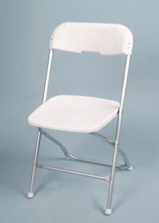 SWEET SILVER FOLDING CHAIR Aluminum Frame With Silver Trim. White  Poly Plastic Seat. Best For Indoor And Outdoor Use.
