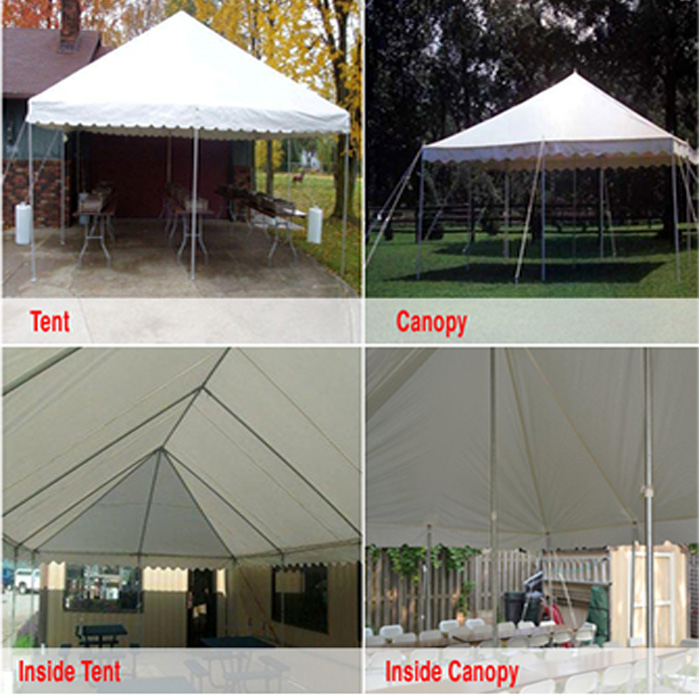The canopy tent also has a center pole which gives you less space under tent. Canopy tents can only go on grass or dirt. & Tents |